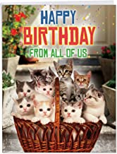 From All Us Cats Birthday' Large Greeting Card with Envelope 8.5 x 11 Inch - Big Gift Basket of Kittens for Cat Lover, Stationery Set for Personalized Happy Bday Greetings and Wishes J5980BDG-US