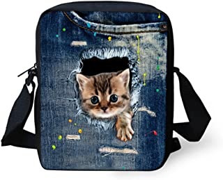 HUGS IDEA Cute Cat Printed Women Small Blue Shoulder Bags Handbag Cellphone Pouch Purse Wallet