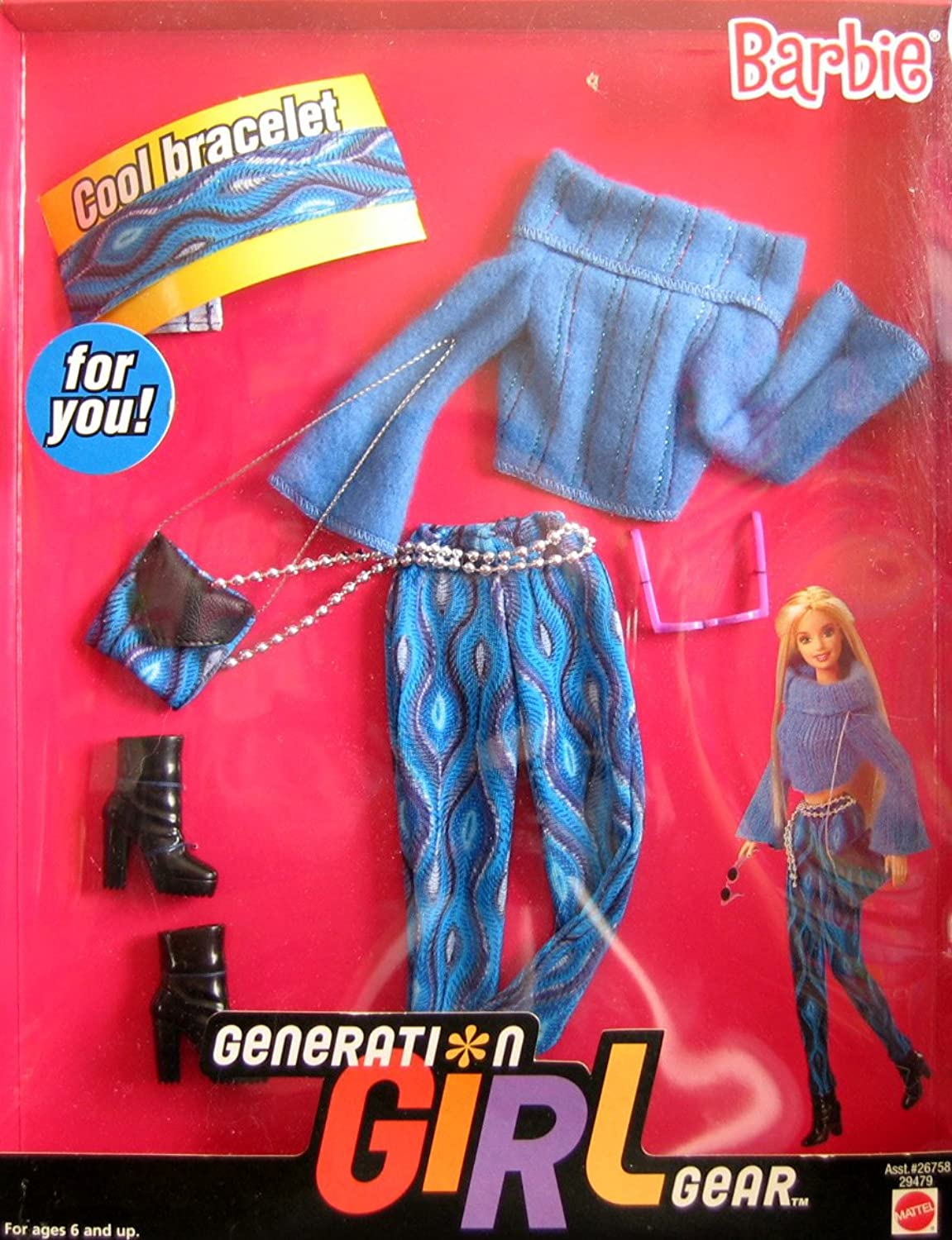 Barbie Generation Girl Gear Fashions w Cool Bracelet For YOU  (2000)