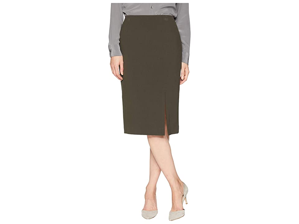 Tahari by ASL Bi-Stretch Pencil Skirt with Front Slit (Olive) Women