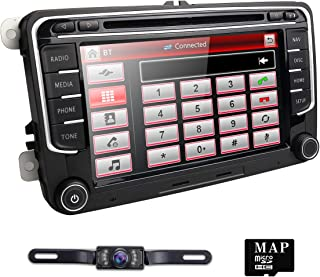 hizpo 7 Inch Double Din Car Stereo Navigation DVD Player Fit for Volkswagen Jetta Golf Passat Tiguan T5 VW Skoda Seat with Canbus Bluetooth Mirrorlink Map Card RDS Radio USB SD + Reverse Camera
