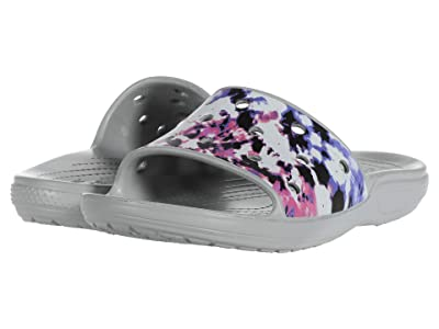 Crocs Classic Tie-Dye Mania Slide (Multi/Light Grey) Slide Shoes