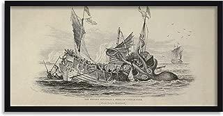 Antique Kraken Cuttle Fish Ship Octopus Nautical Long Framed Art Print Wall Poster 25x12 inch