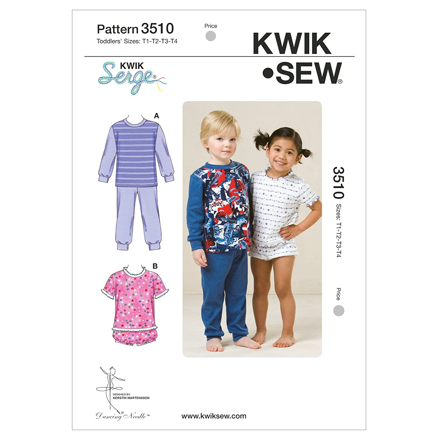 KWIK-SEW PATTERNS K3510OSZ Pajamas Sewing Pattern, Size T1-T2-T3-T4 b62307196010