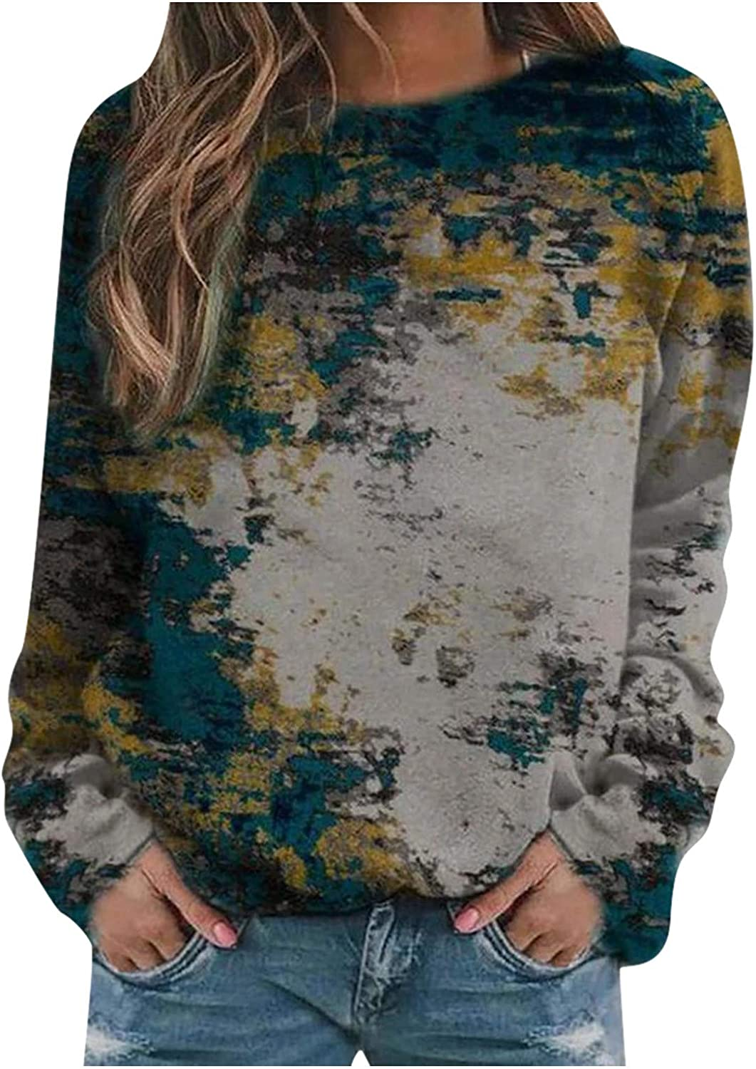 Sweatshirts for Women,Women's Long Sleeve Round Neck Casual Colorful Print Shirt Blouse Sweatshirt Pullover Top
