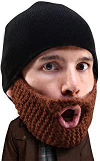 Stubble Populous Beard Beanie -Funny Knit Hat and Fake Beard Facemask Brown
