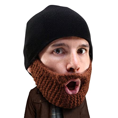 Beard Head Stubble Populous Beard Beanie -Funny Knit Hat and Fake Beard  Facemask Brown f5bc69ec2b9f