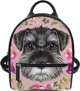 HUGS IDEA Schnauzer Puppy Print PU Leather Mini Backpack Travel Lightweight Shoulder Bag Student Hipster Daypack