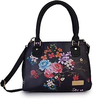 Lapis O Lupo Women Fashion Flower Print Medium Size 3 Compartment Top Handel Zip Clouser Leatherette Adjustable Sling Handbag