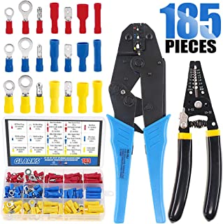Glarks Professional Self-Adjustable Ratchet Wire Crimping Pliers AWG 22-10 and a Wire Stripper Tool Set with 183Pcs Insulated Butt Bullet Spade Ring Crimp Terminals Connectors Assortment Kit