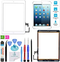 OmniRepairs Touch Screen Glass Digitizer Assembly OEM Replacement with Home Button Compatible for iPad Air 1st Generation with Adhesive Tape, Screen Protector and Repair Toolkit (White)