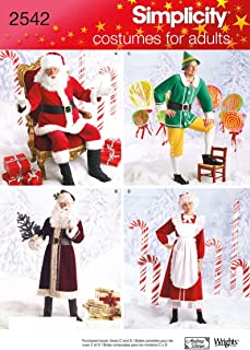Simplicity 2542 Santa, Elf and Mrs. Santa Sewing Pattern for Adults Christmas Costume by Wrights, Sizes BB L-XL