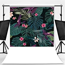 Seamless Botanical Exotic Vector Pattern with Green Palm Leaves and Hibiscus Flowers on Dark Background Theme Backdrop Photo Backdrop Photography Backdrop,007832,6.5x6.5ft