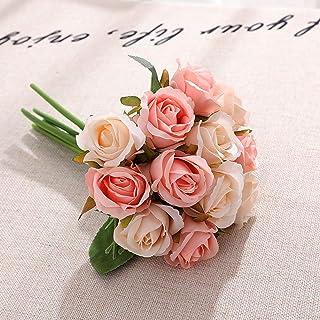 12 Stück Künstliche Blumen, Gefälschte Rosen Einzigen Stamm Brautstrauß für Hochzeit Home Birthday Party Garten Hotel Büro Dekoration - Champagner
