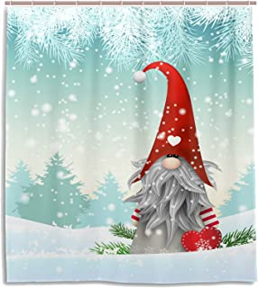 Wamika Merry Christmas Cute Gnome Snowman Shower Curtain 60 W x 72 H inches Winter Snow Snowflake Christmas Tree Jingle Bells Bathroom Curtain Set with Hooks Santa Claus Happy New Year Decoration
