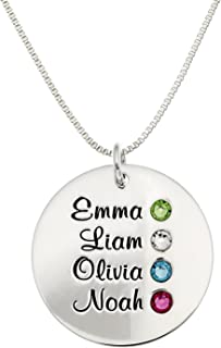 Personalized Round Four Stacked Names Sterling Silver Necklace with Birthstone Setting. Customize a Round Charm. Choice of Sterling Silver Chain for All. Makes Great Birthday Gift.