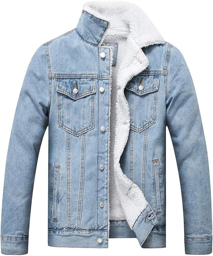 LZLER Men's Fleece Jean Jacket Winter Cotton Sherpa Lined Denim Trucker Jacket