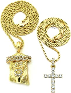 Mens ICED Out Gold GOD Jesus Micro Cross Hip HOP Pendant Box Rope Chain Necklace Set of 2