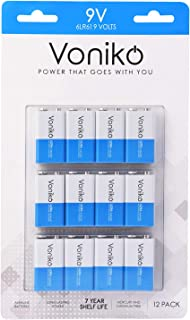 VONIKO Ultra Alkaline 9V Batteries 12 Pack – 7 Year Shelf Life & 6-9 Times The Power As Carbon Batteries   9 Volt Battery – 9 V Battery