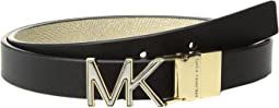 MICHAEL Michael Kors - 20mm Smooth to Metallic Textured Reversible Belt
