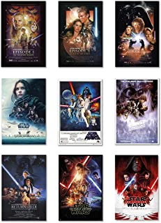 Star Wars: Episode I, II, III, IV, V, VI, VII, VIII & Rogue One - Movie Poster Set (9 Individual Full Size Movie Posters - Version 2) (Size: 27 inches x 40 inches Each)