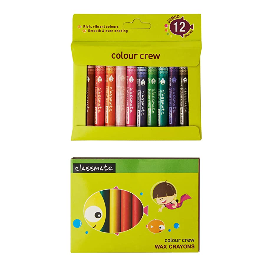 Classmate for Kids Color Crew Wax Crayons 12 Shades, Crayons Length 90 mm