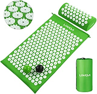 Acupressure Mat and Pillow Set with 2pcs Spiky Massage Balls for Back/Neck/Feet Pain Relief and Muscle Relaxation with Car...