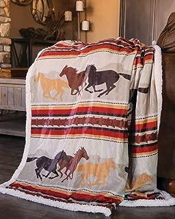 Carstens, INC Wrangler Running Horse Country Sherpa Fleece Throw Blanket, Brown