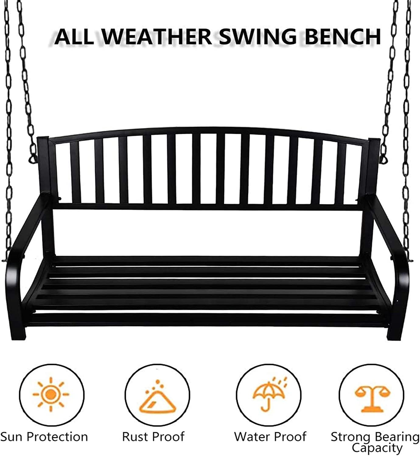 Patio Furniture Metal Swing Bench for Yard Deck Backyard Pattern B Hanging Bench Swing Outdoor 2 Person Front Hanging Porch Swing Bench with Chains