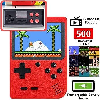 DigitCont Console de Jeu Portable, Retro FC Console de Jeux, avec 500 Classique Jeux FC, 3 Pouces écran Couleur, 1020mAh Rechargeable Battery Connection TV, Présent pour Adultes Enfants