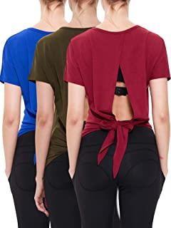 Women's Open Back Shirts Backless Blouse Dry Fit Yoga Top