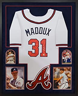 Greg Maddux Atlanta Braves Autograph Signed Custom Framed Jersey 4 Picture Suede Matted Grey JSA Certified Authentic