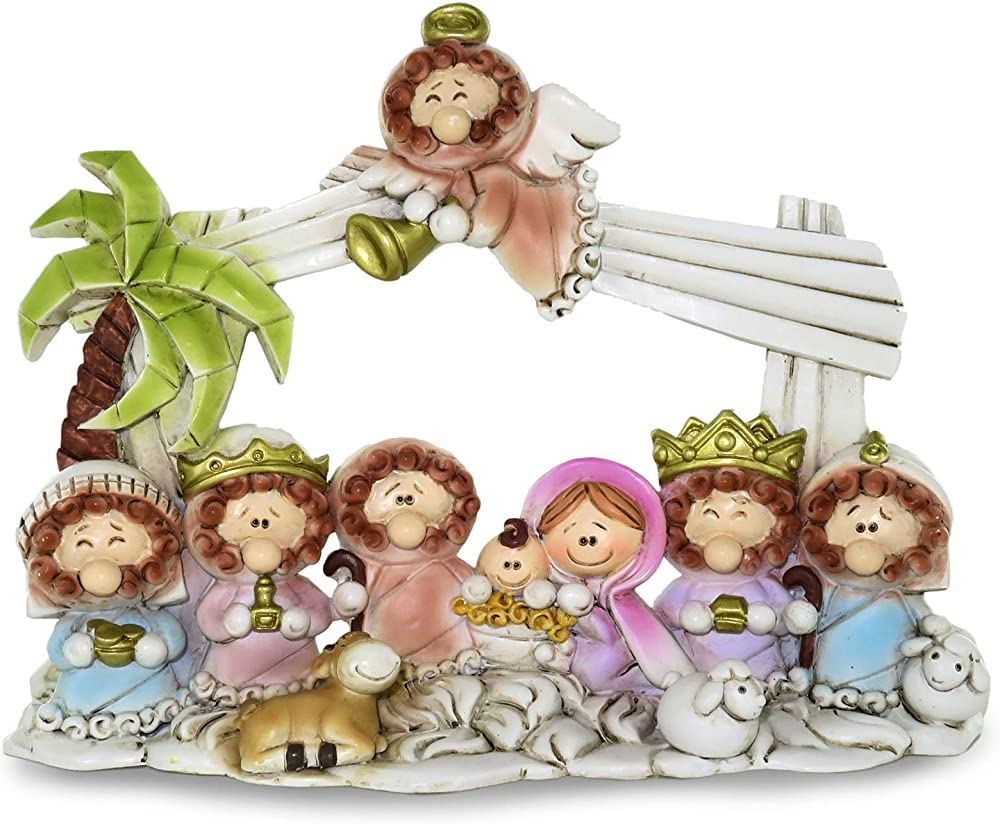 ferrari & arrighetti presepe per bambini con capanna e 10 personaggi in resina 207201
