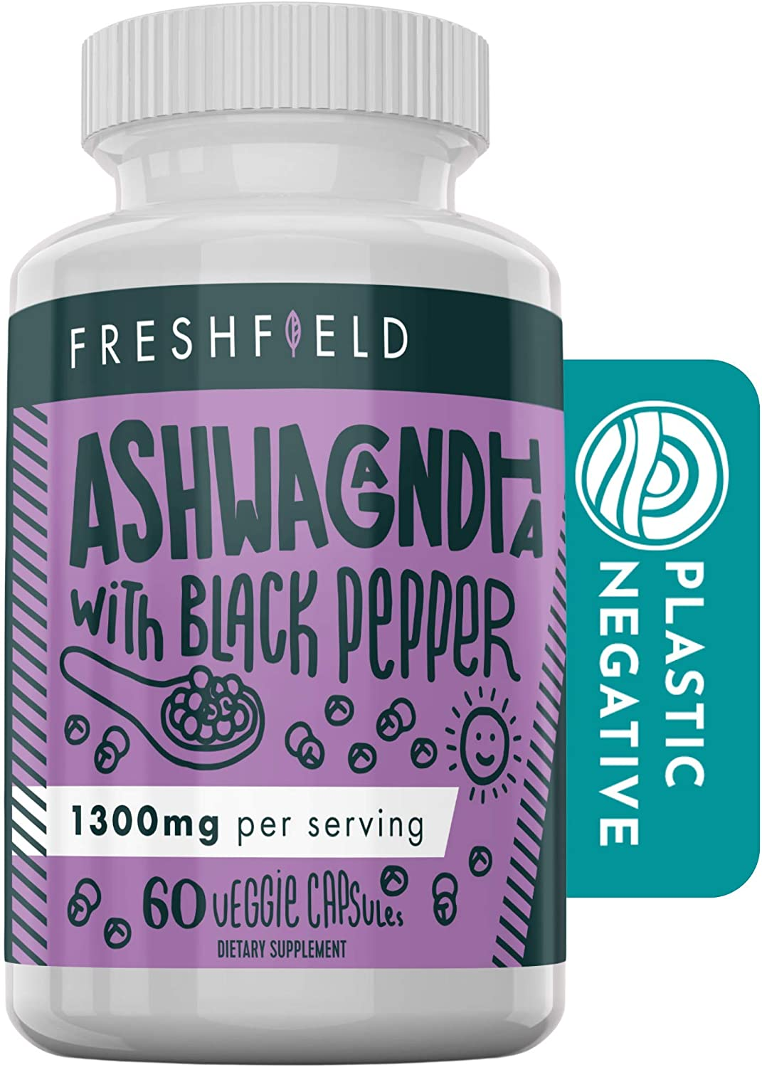 Freshfield Ashwagandha with Black Pepper. Vegan Friendly Supplement for Adrenal Fatigue Support, Muscle Memory, Anxiety, Thyroid and Strength. All Natural 1300mg Capsules