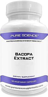 Pure Science Bacopa Monnieri Extract 600mg (S.E. 50% Bacosides 320mg & Bacopa Monnieri Powder 280mg) – Improves Memory and...