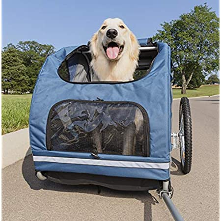 PetSafe Happy Ride Steel Dog Bike Trailer - Durable Frame - Easy to Connect and Disconnect to Bicycles - Includes Three Storage Pouches and Safety Tether - Collapsible to Store - Medium and Large Size