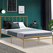 Double Bed Frame, Metal Bed Base, Gold