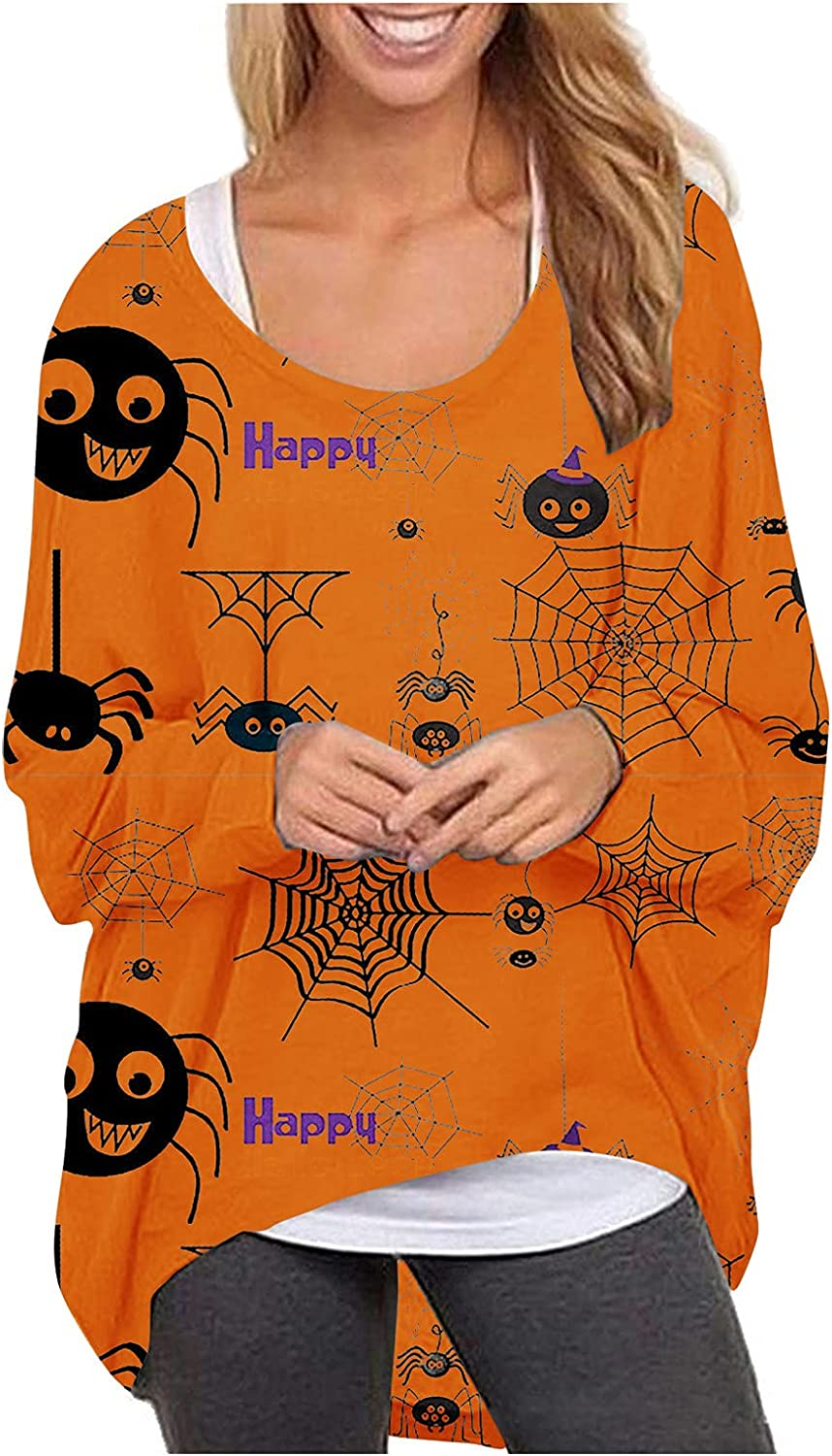 Women's Halloween Limited time sale Pullover Long Sleeve Round Free shipping anywhere in the nation Loose Swe Neck
