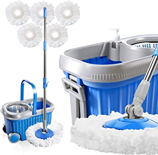 Masthome 8L 360 Spin Mop Stainless Steel Bucket with Wheels 3 Microfiber Mop Heads Easy Rolling Mop and Bucket System for ...