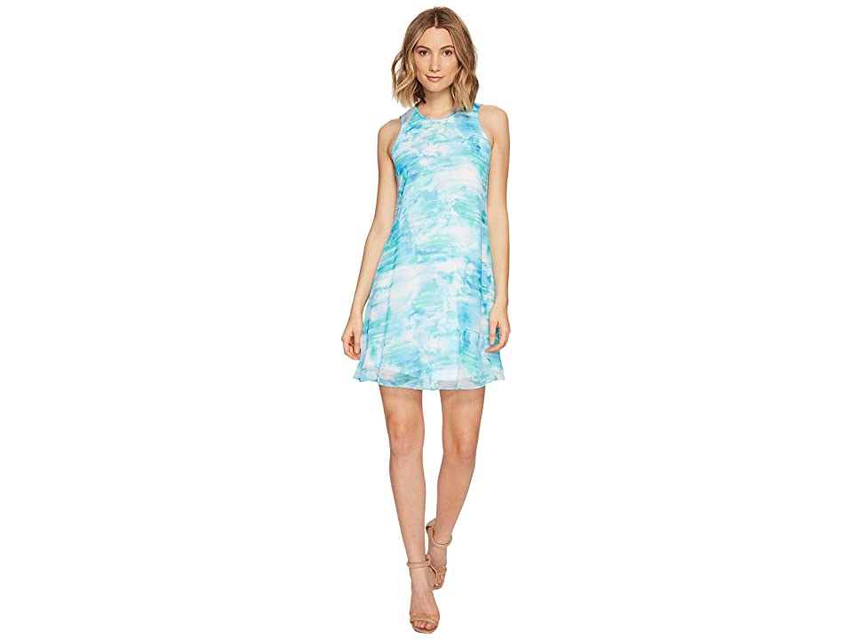Calvin Klein Blurred Print Trapiz Dress (Lagoon Multi) Women