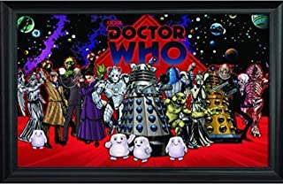 Doctor Who Wall Art Decor Framed Print   36x24 Premium (Canvas/Painting Like) Textured Poster   Dr. Dalek, Weeping Angel, Cybermen, Adipose in Old TV Show   Memorabilia Gifts for Guys & Girls Bedroom