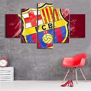 ARTZHUA Wall Art 5 Pieces Canvas Paintings American Football HD 5 Pieces Barcelona Flag Logo Posters Football Canvas Paintings Wall Art Prints Pictures Boys Sports Bedroom Decoration Frame