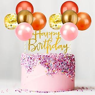 Outus Latex Balloon Birthday Cloud Cake Topper, Mini Balloon Garland Cake Topper Confetti Balloon Acrylic Happy Birthday C...