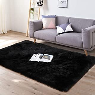 YJ.GWL Super Soft Faux Fur Area Rug for Bedroom Sofa Living Room Fluffy Bedside Rugs Home Decor,3x5 Feet Rectangle Black