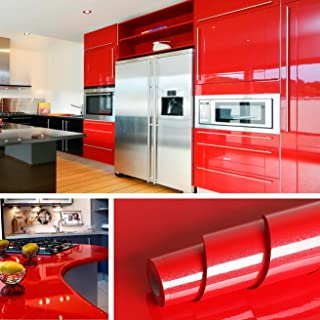 Livelynine 15.8x394 Inch Gloss Red Wall Paper Kitchen Cabinet Liner Removable Wallpaper Peel and Stick Countertops Self Adhesive Shelf Liner Red Cuboard Liner Glitter Vinyl Roll