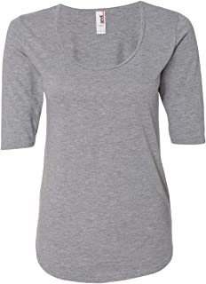 Anvil 6756L Ladies' Triblend Deep Scoop Half-Sleeve T-Shirt Cotton Blend