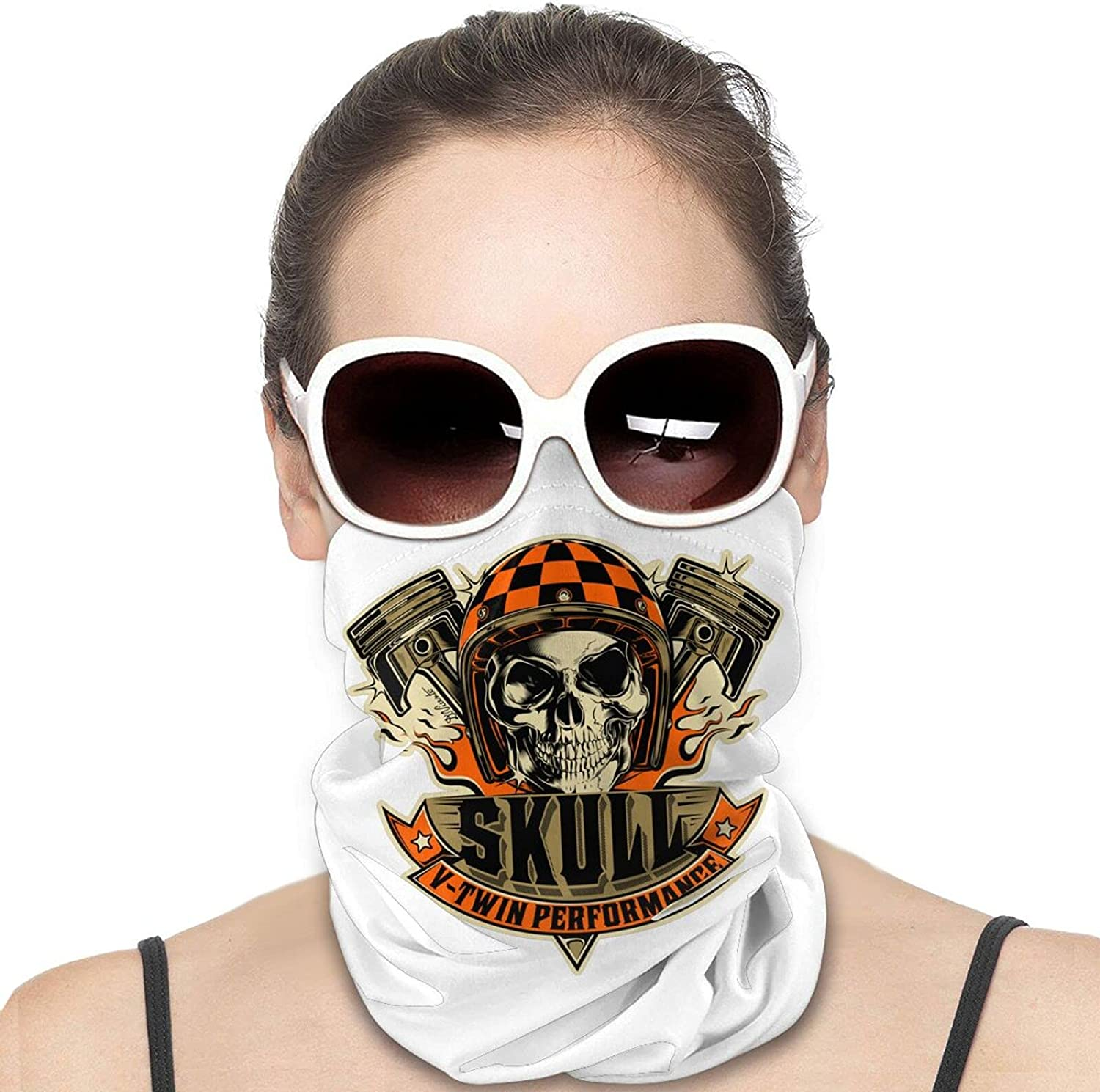 Deadly Trio Feet Biker Skull Round Neck Gaiter Bandnas Face Cover Uv Protection Prevent bask in Ice Scarf Headbands Perfect for Motorcycle Cycling Running Festival Raves Outdoors