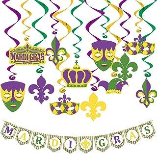 Mardi Gras Hanging Decorations Kit 37ct | Includes 18ct Mardi Gras Themed Cutouts with 18ct Hanging Swirls & 1 Mardi Gras ...