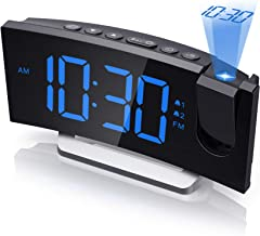 Mpow Projection Alarm Clock, Radio Digital Clock with USB Charger, 0-100% Full Range Brightness Dimmer, Dual Alarm Clock w...