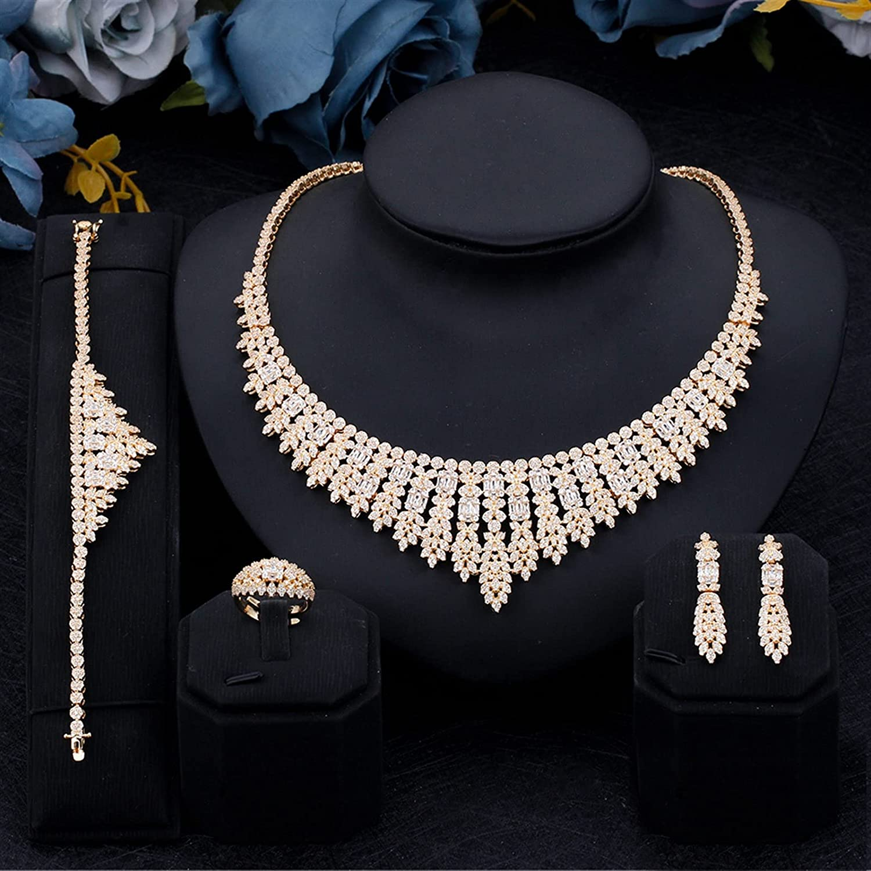 SYXMSM Jewellery Set 4PCS Bridal Cubic Full Daily bargain List price sale Zirconia Jewelry